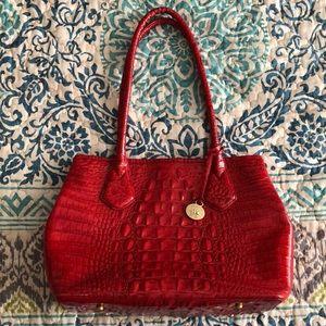 Brahmin red crocodile print purse